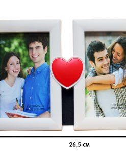 Бяла рамка за 2 снимки с червено сърце