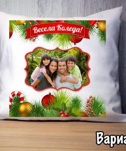 Коледна възглавничка със снимка вариант 2