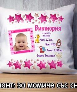 Възглавничка визитка за бебе момиче със снимка